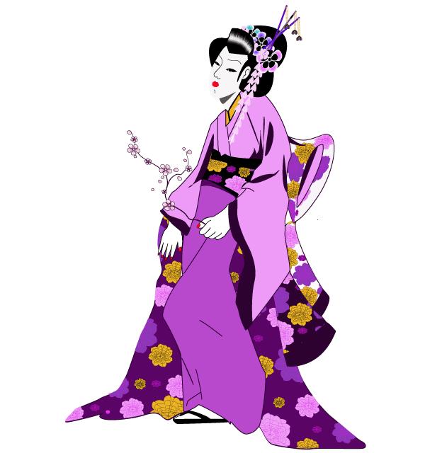 Geisha clipart japanese person  Free Girl Image Vector