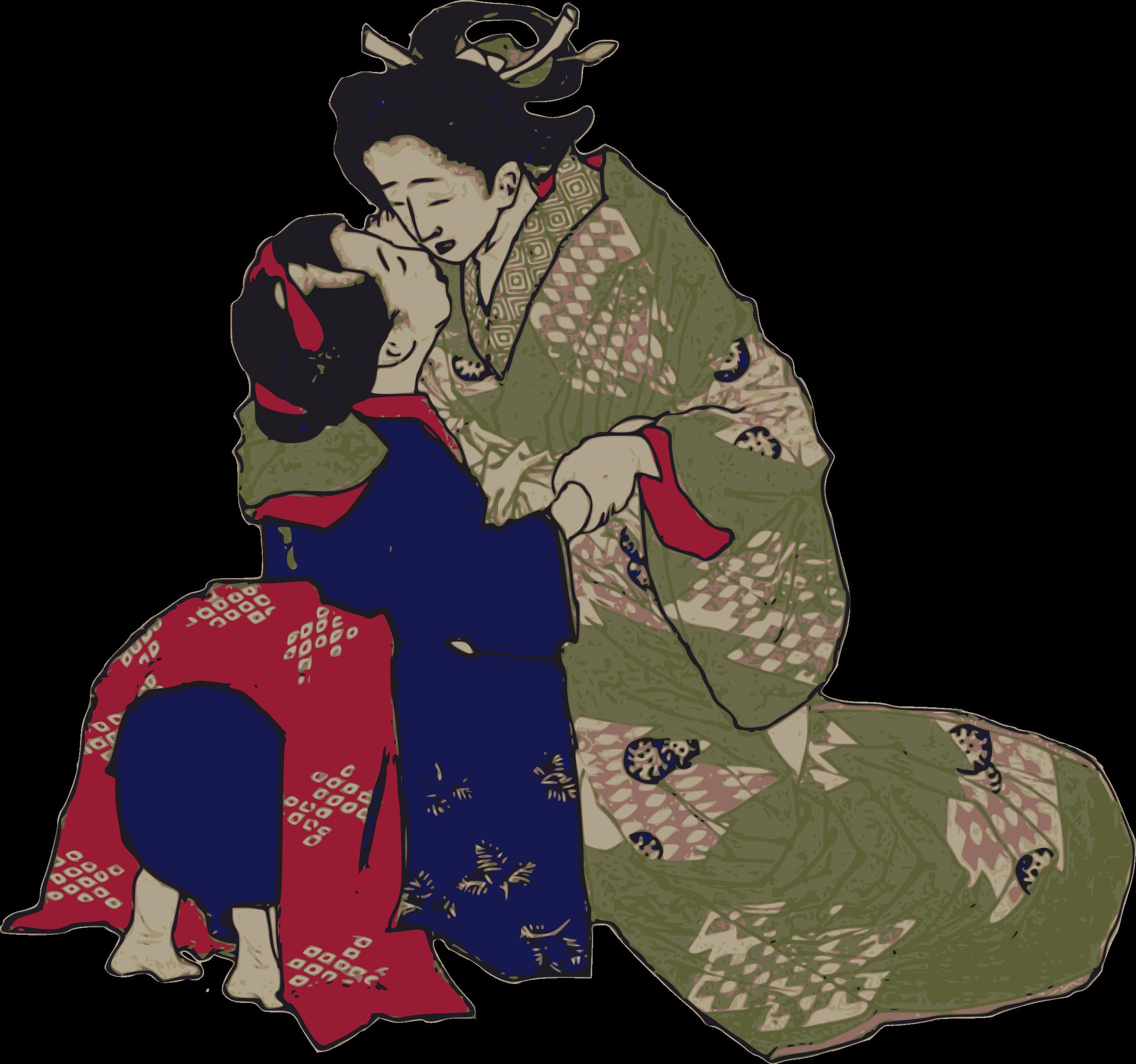 Geisha clipart public domain Kissing Geisha Geisha Kissing Clipart