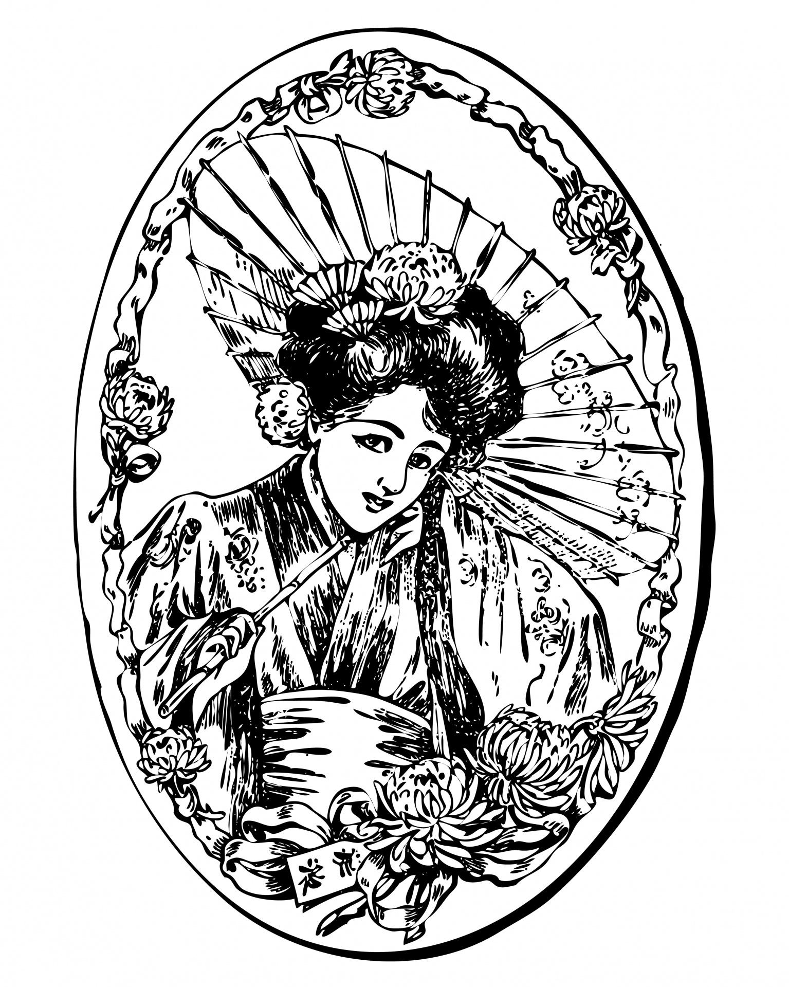 Geisha clipart public domain Free Domain Illustration Photo Stock