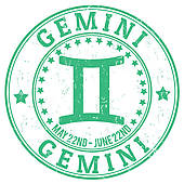 Gemini clipart twin Stamp · grunge Royalty zodiac