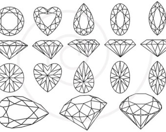Crystals clipart diamond outline Stones Gems gem Etsy set
