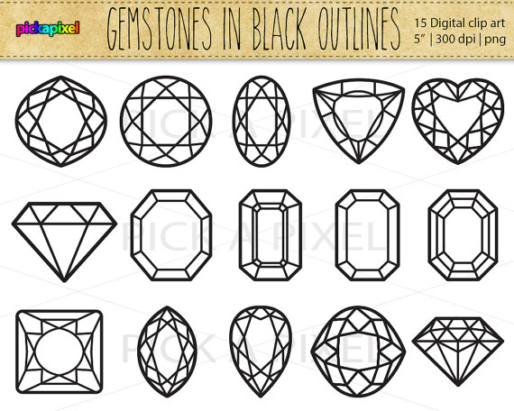 Square clipart gemstone Hand and Commercial Black outlines