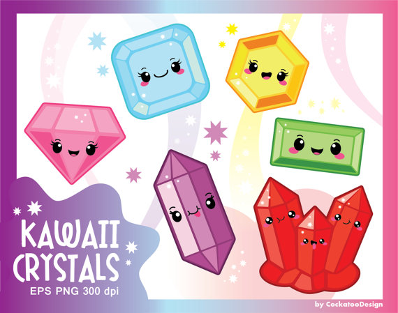 Gems clipart diamond Clipart  art crystal Kawaii