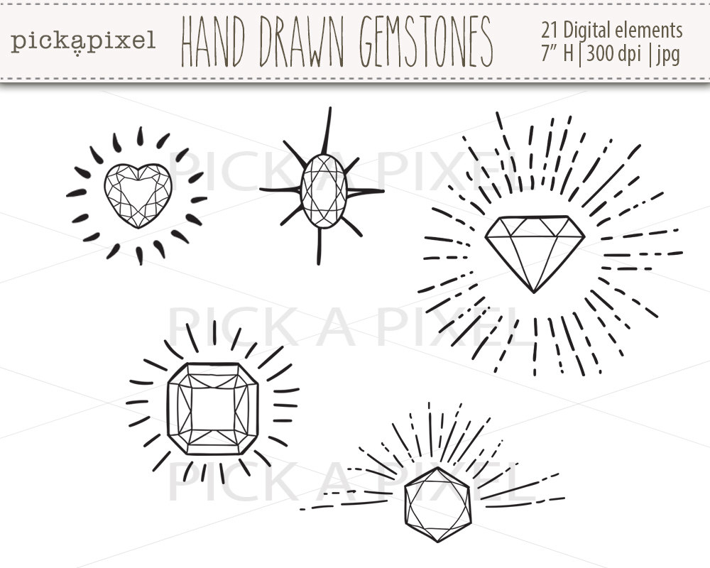 Gems clipart diamond outline #11