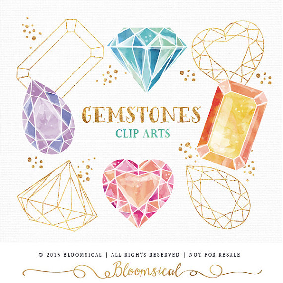 Crystals clipart diamond Clip Art crystal diamond watercolor