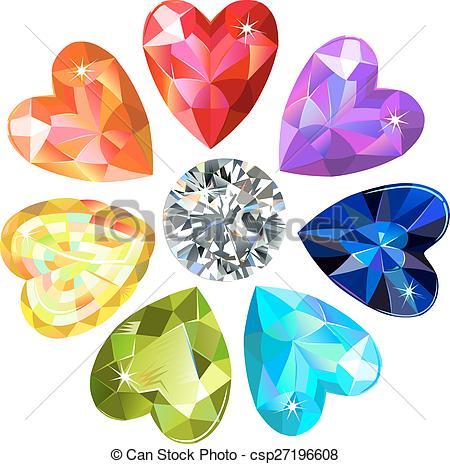 Gems clipart heart  flower Seamless heart Clipart