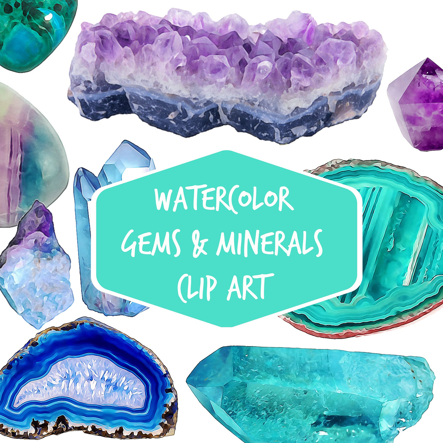 Crystal clipart shaped object Minerals clip This  slices