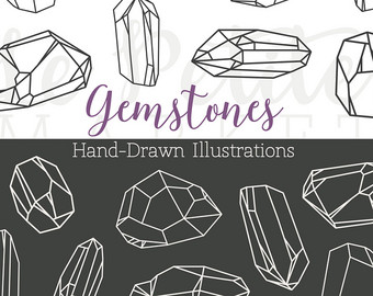 Sketch clipart gemstone Art Bling Clipart Crystal Hand