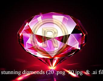 Gems clipart purple diamond Etsy clip gem photoshop clipart
