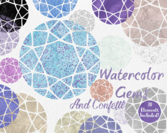 Gems clipart purple diamond Clipart Gem AQUA gem Watercolor