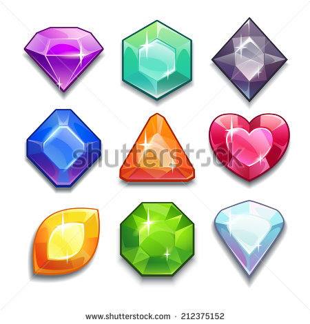 Gems clipart small colored gem stone shape Set set icons isolated Cartoon