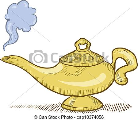 Genie Lamp clipart smoke clipart Style lamp  sketch Vector
