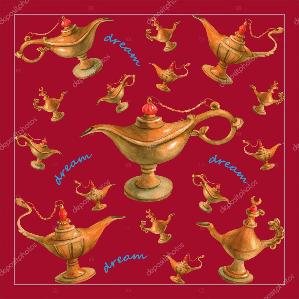 Genie Lamp clipart arabian night Cherry illustration Nights watercolor genie