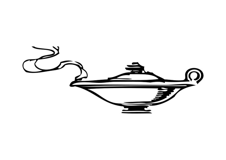 Genie Lamp clipart colouring page Of the img Coloring 17327