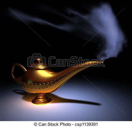 Genie Lamp clipart smoke clipart  lamp Aladdin Clipart rendered