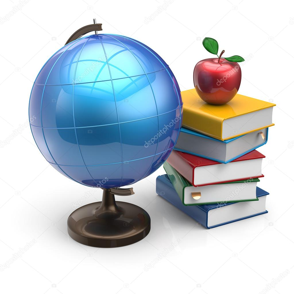 Geography clipart apple book 3d school apple white Photo