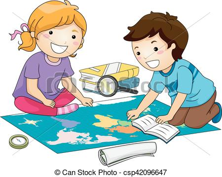 Geography clipart compass map Illustration Study Vector Preschool Study