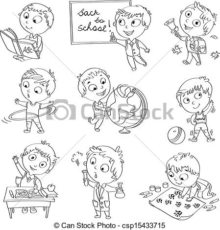 Geography clipart cute Schoolchild at lesson of csp15433715