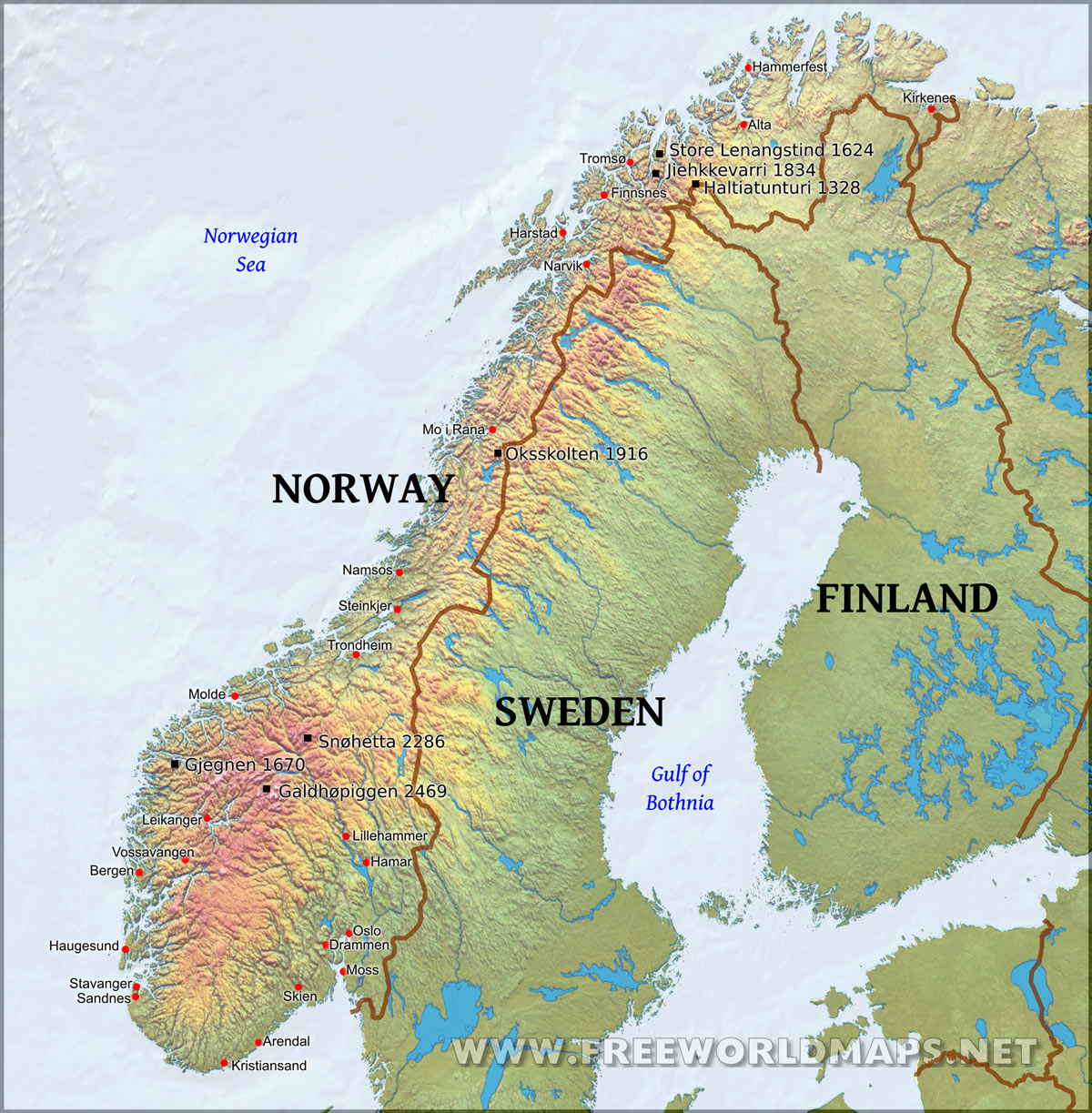 Geography clipart high mountain Clip Map Free Norway Physical