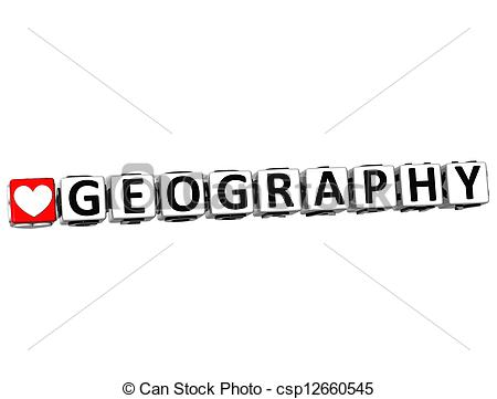 Geography clipart i love 3D white background Block Love
