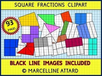 Geometry clipart cute Fractions Square math Square clipart: