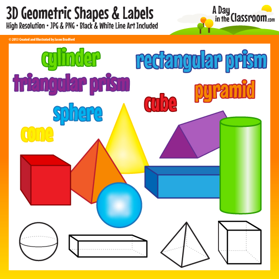 Geometry clipart geometric shape 3D Shapes collection Geometric clipart