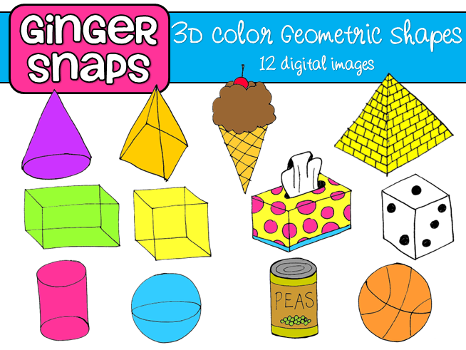 Geometry clipart geometric shape Three pyramid figures collection clipart