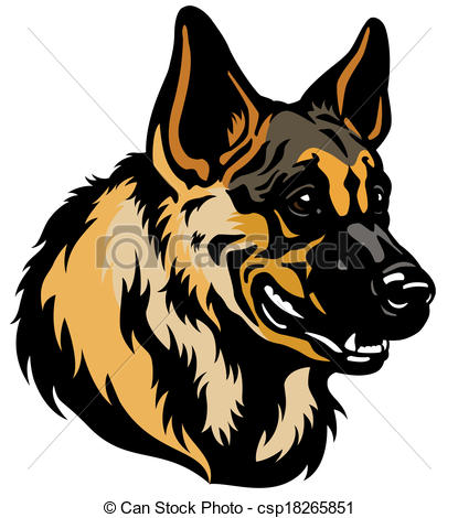 Germany clipart german shepherd puppy Of german head Vector head