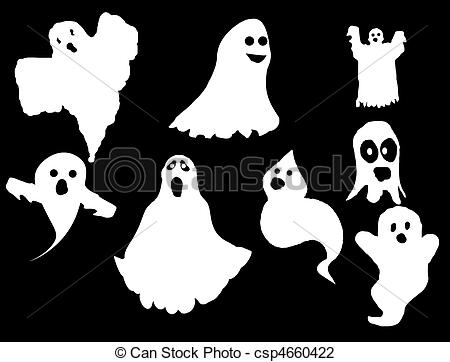 Ghostly clipart silhouette Vector of set Collection