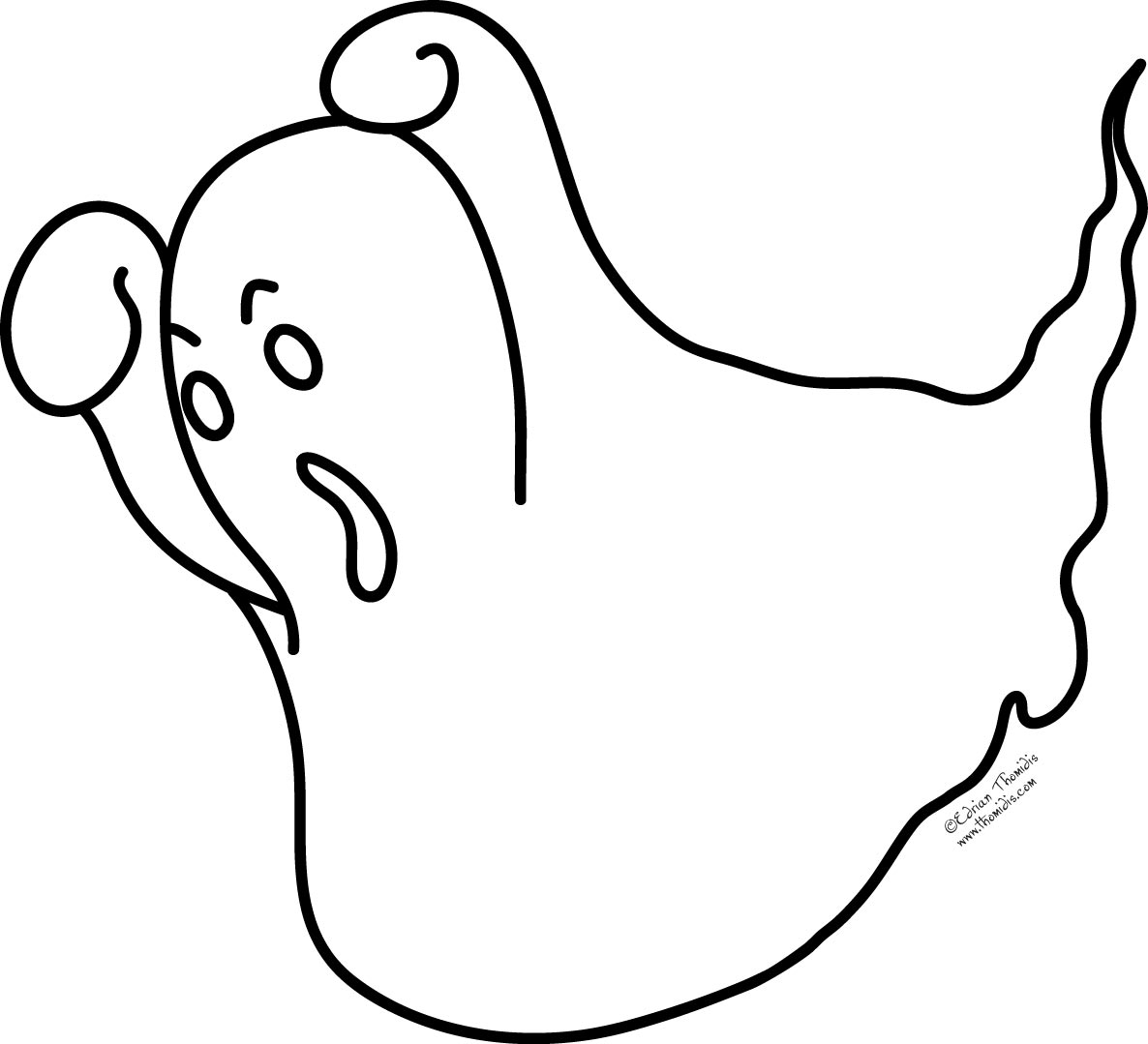Ghostly clipart coloring page Best Maps More Cute Art