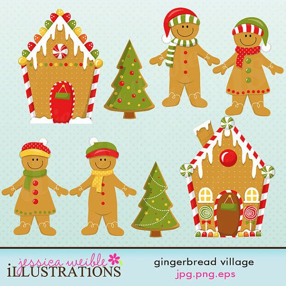 Gingerbread clipart christmas tree About Commercial Cute Village Clipart