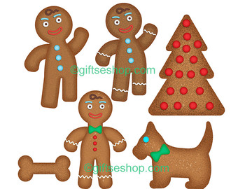 Gingerbread clipart cute button #5