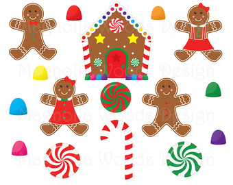 Gingerbread clipart cute button #11