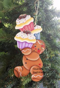 Gingerbread clipart decoration Handpainted  crafts Wooden Christmas