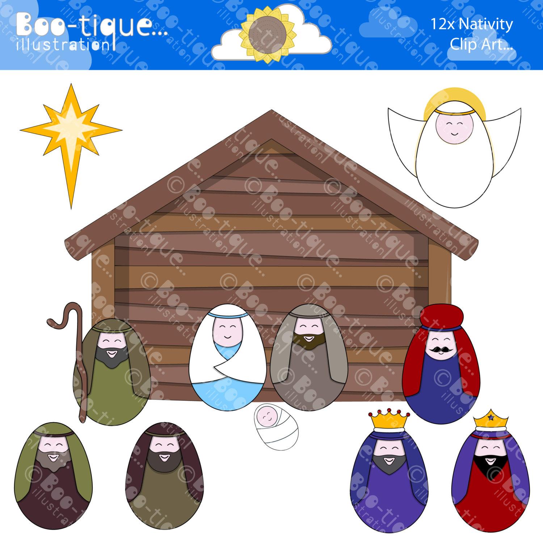 Gingerbread clipart nativity Clipart Nativity Digital Christmas Illustration