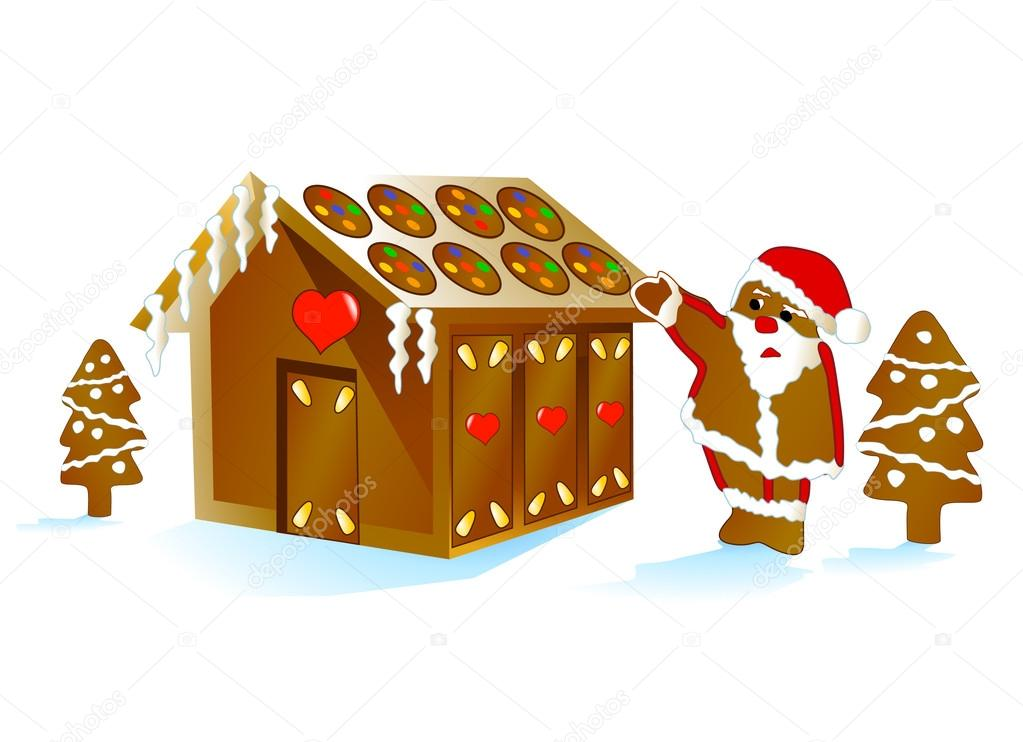 Gingerbread clipart santa claus house With Vector #3983472 House —