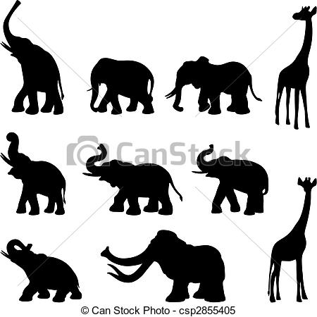 Giraffe clipart drink water Wild animals of Vector animals