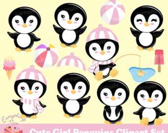 Penguin clipart girly Penguin Penguins Etsy Set Cute
