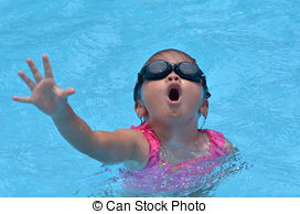 Girl Drowning Clipart Pool and Concept a