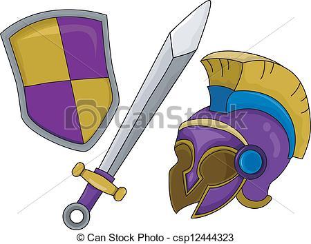 Shield clipart gladiator Gladiator csp12444323 Gladiator Helmet and