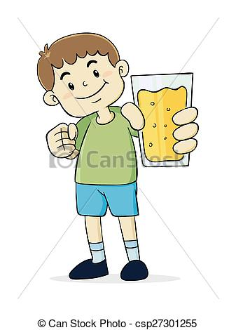 Boy clipart glass Vector a juice juice holding