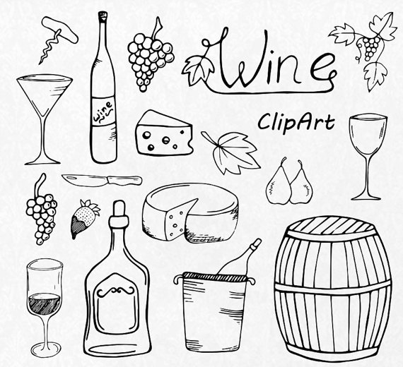 Grape clipart drawn Drawn toasting Drawn vector Wine