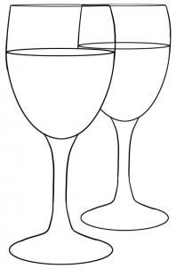 Drawn amd glass Step outline glasses glass wine