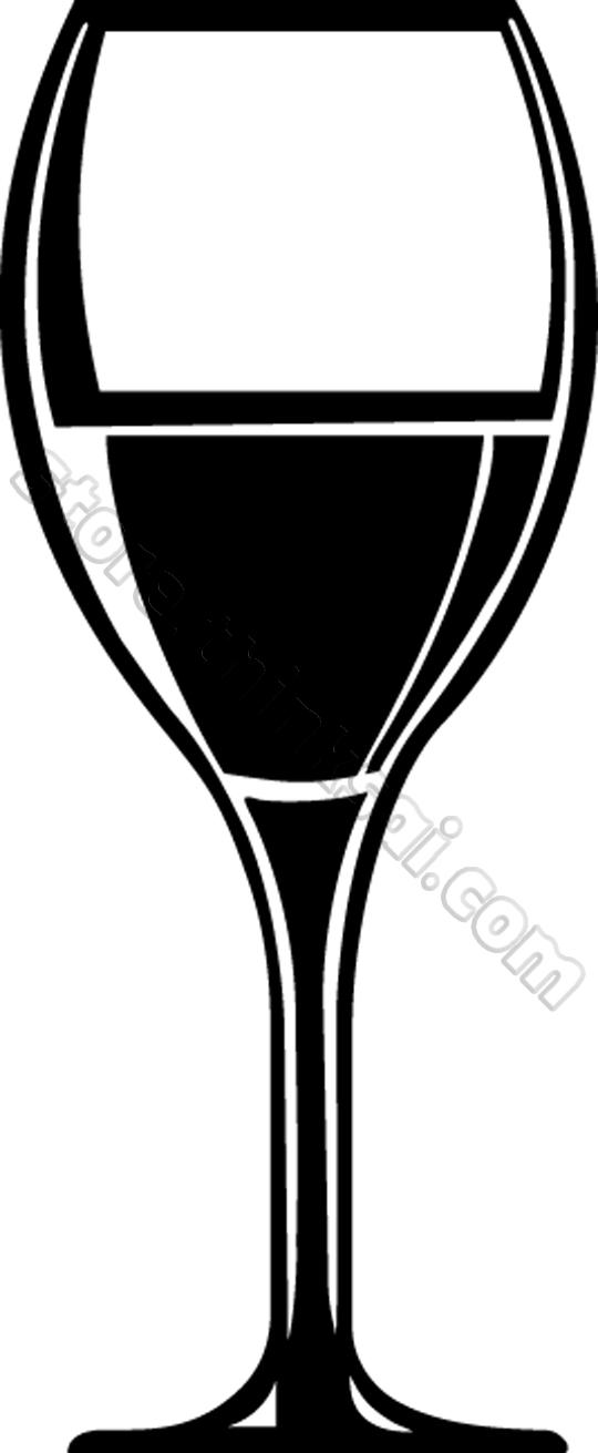Black clipart wine glass #3