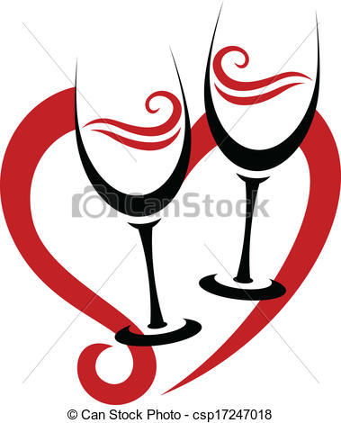 Wine clipart two Heart Wine Two Vector Clip