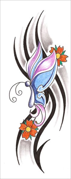Glitch clipart butterfly flower Displays Tattoo Tribal Design Butterfly