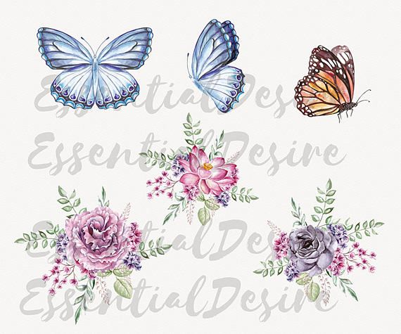 Glitch clipart butterfly pink Clip Digital Flowers Rgb Butterfly