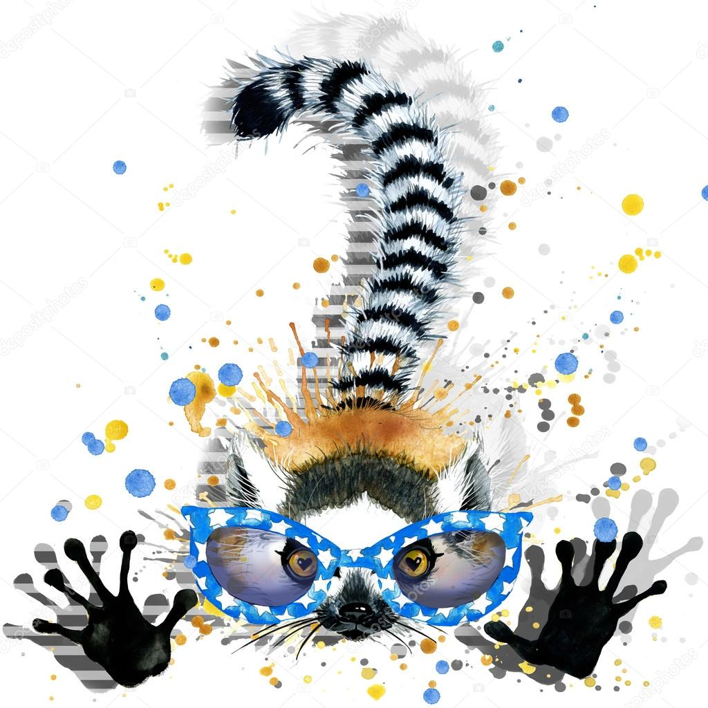 Glitch clipart caterpillar Illustration watercolor watercolor for Lemur