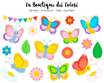 Bug clipart pastel butterfly Cute Butterfly Graphics Bugs Colorful