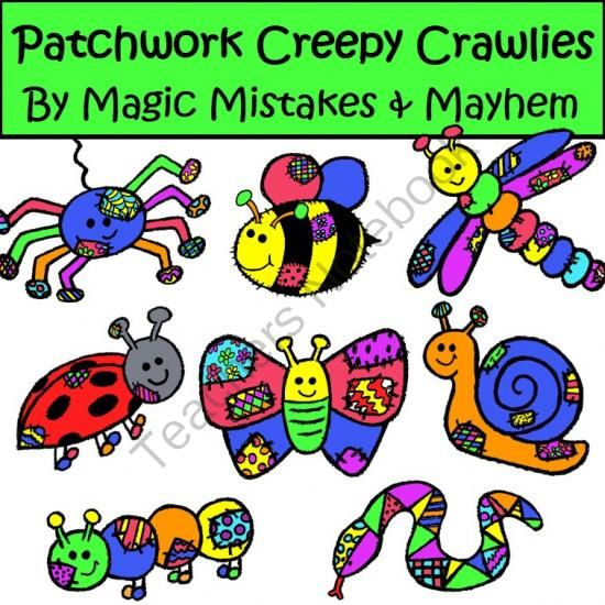 Patchwork clipart colorful Cute best from Crawlies Art